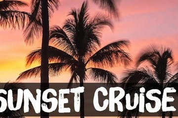 Sunset Cruise promotion with palm trees