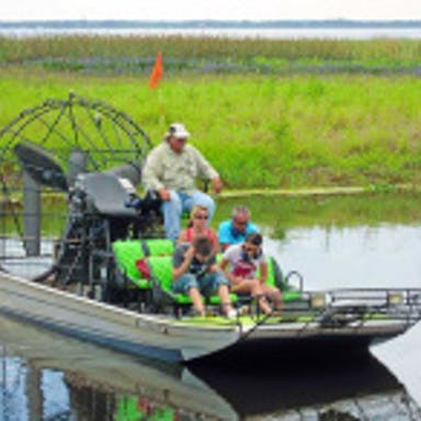 A group on an Everglade airboat ride