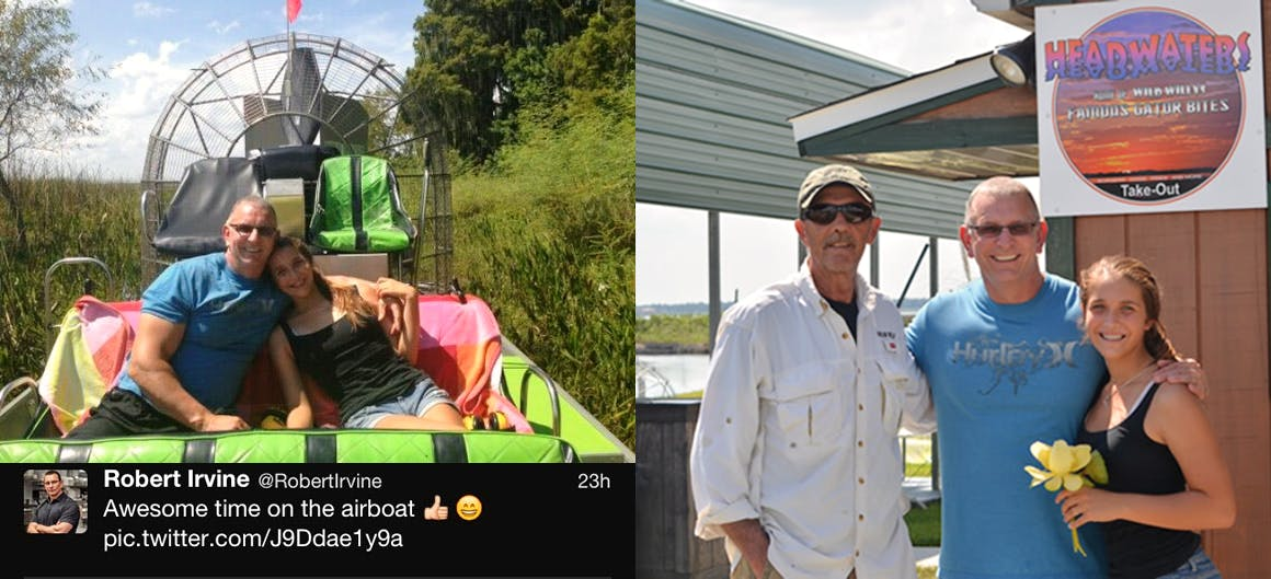 Robert Irvine on an airboat tour with Wild Willy's