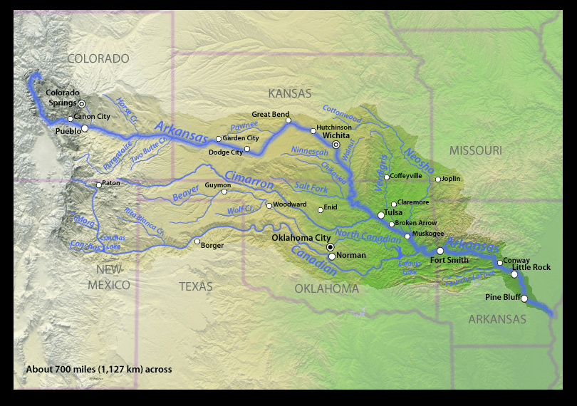map of Ark River from CO-AK
