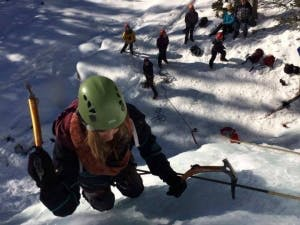 Group of people ice climbing in Canda