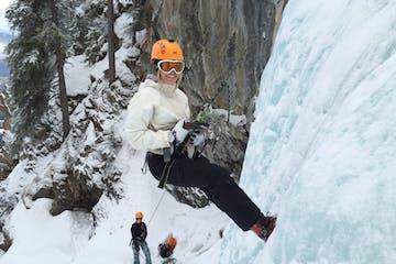 Women ice climbing