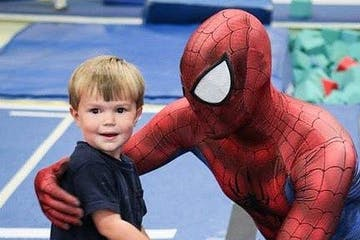 Spiderman with young boy