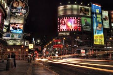 Downtown Toronto at night.