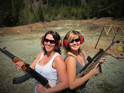 two ladies at the shooting range