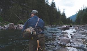 Man fly fishing in Whistler