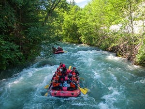 Two rafts on the green river in Whistler
