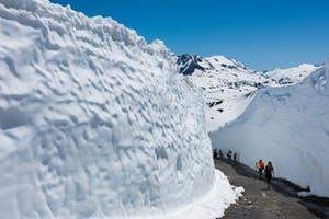 Walls of snow surrounding a trail on whistler mountain