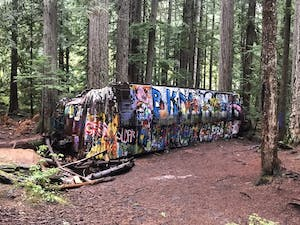 A train wreck covered in grafitti in Whistler
