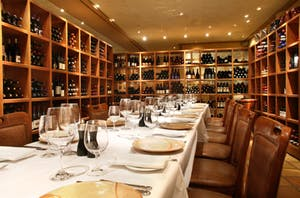Araxi dining room, in whistler lined with wall to wall wine cellar