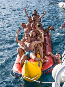 Bachelor party on a banana boat