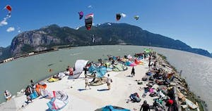 Aerial view of the spit and kite boarding in Squamish