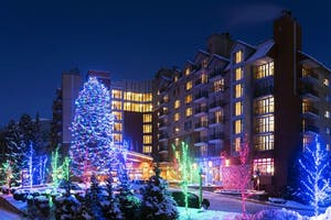 The hilton in Whistler with Christmas lights