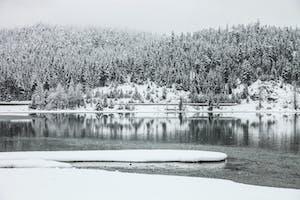 Snowy lake in Whistler
