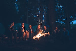 Group around a fire in Whistler