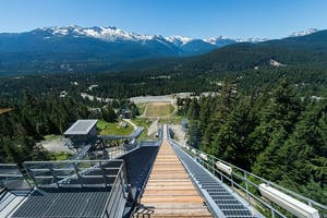 View of the Whistler Olympic park from the Ski jump in Summer