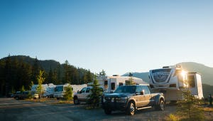 a truck is parked on the side of a road, Whistler RV Campsite