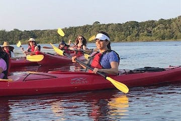 Group in red kayaks