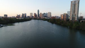 The river flowing toward the Austin Skyline