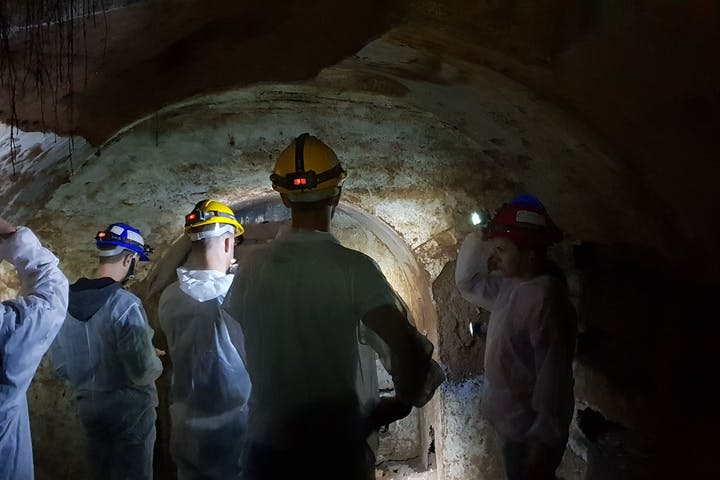 A group of people lighting the undergrounds