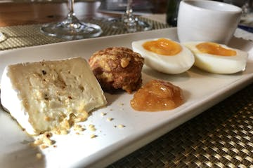 A plate of eggs, cheese, coffee, and more at a restaurant in Napa County, CA