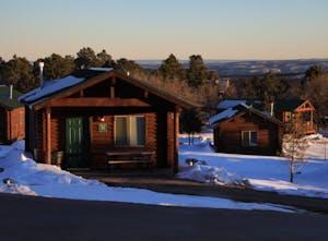 Zion Ponderosa cabin suite in snow