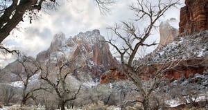 winter hiking scene in zion national park