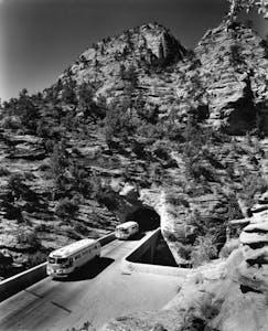 1930 Tour Bus Zion Mt Carmel Tunnel