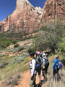 a group of Adventure Women hiking in Zion National Park