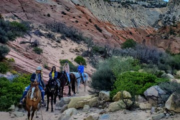 a group of people riding a horse in a rocky area