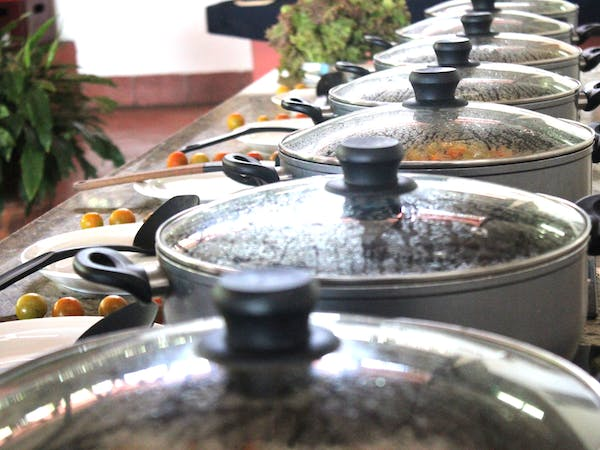 pots of food in restaurant