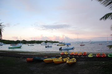 Kayaks and boats on a beach