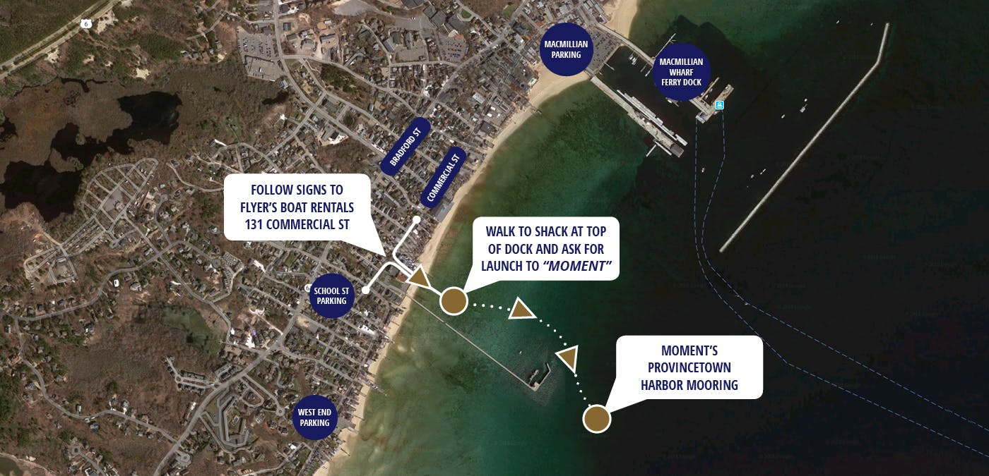 Map to dock and harbor in Provincetown, Massachusetts