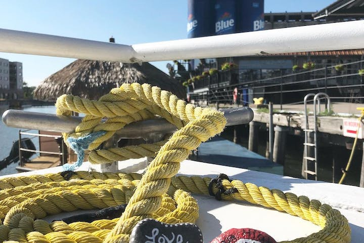 Grand Lady's dock ropes with rocks painted,
