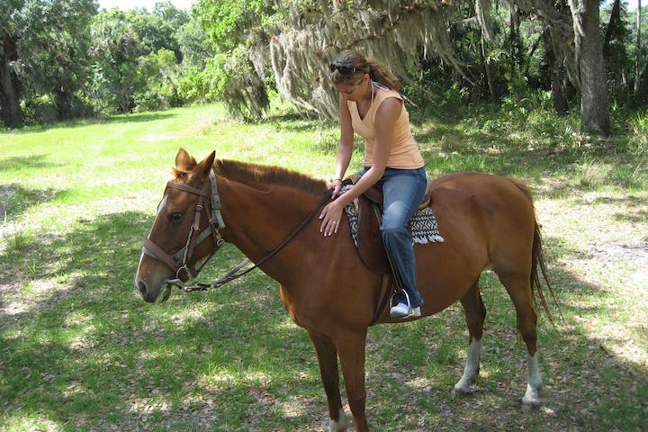 A woman petting her horse in a Florida forest