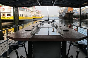 Inside of human powered boat