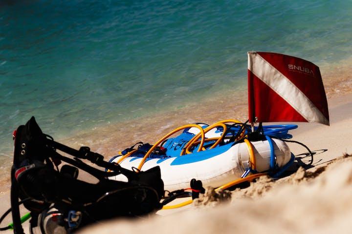 SNUBA gear on the beach