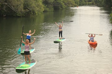 Paddleboarders on a river