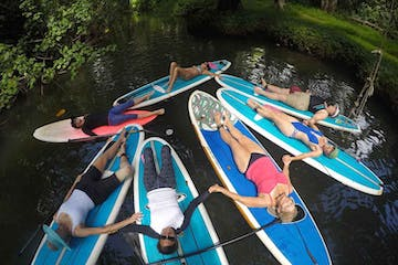 group of paddleboarders laying down on boards