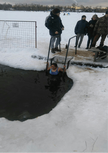 Swimming in an ice hole