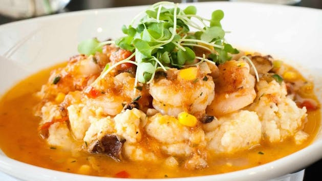 Shrimp and grits with greens