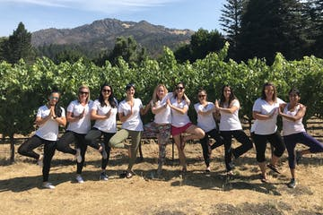 private tour doing yoga pose in front of vines
