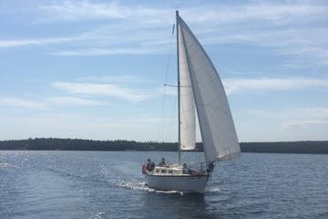 Sailboat sailing in Nova Scotia bay