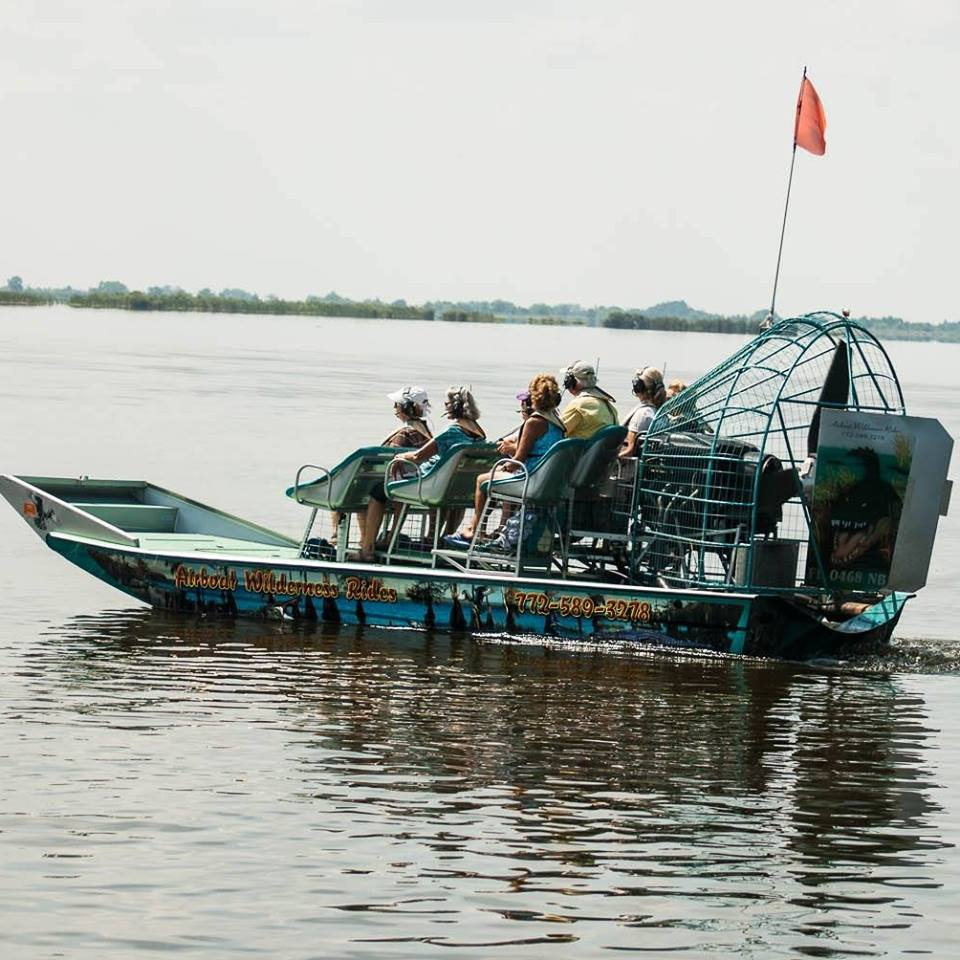 Airboat or 'fanboat on tour of Blue Cypress Lake, near Vero Beach Florida.