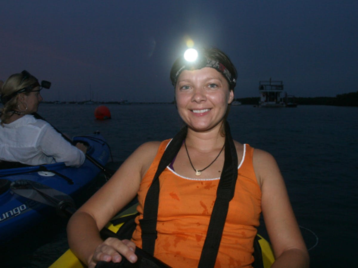 night kayak tour with headlamp