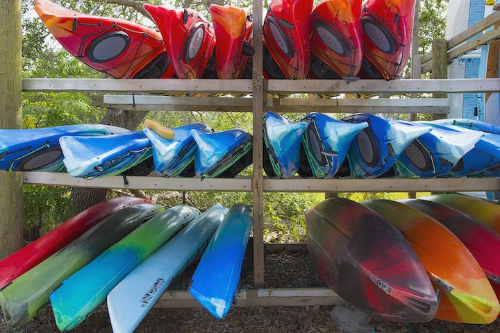 Kayaks on rack