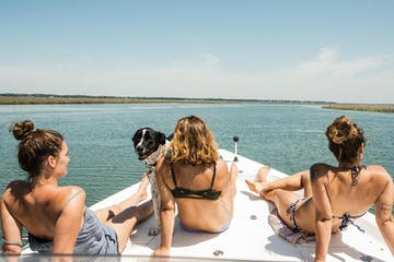 Ladies relaxing on afternoon boat tour