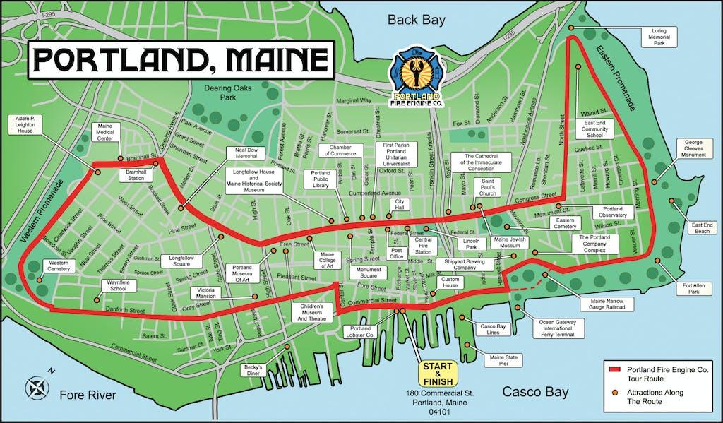 Portland Maine Tour Map