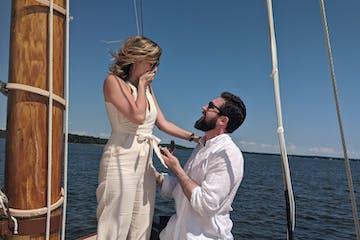 a proposal on a sailboat
