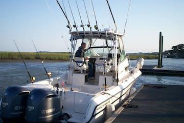 Fishing boat parked at dock in South Carolina